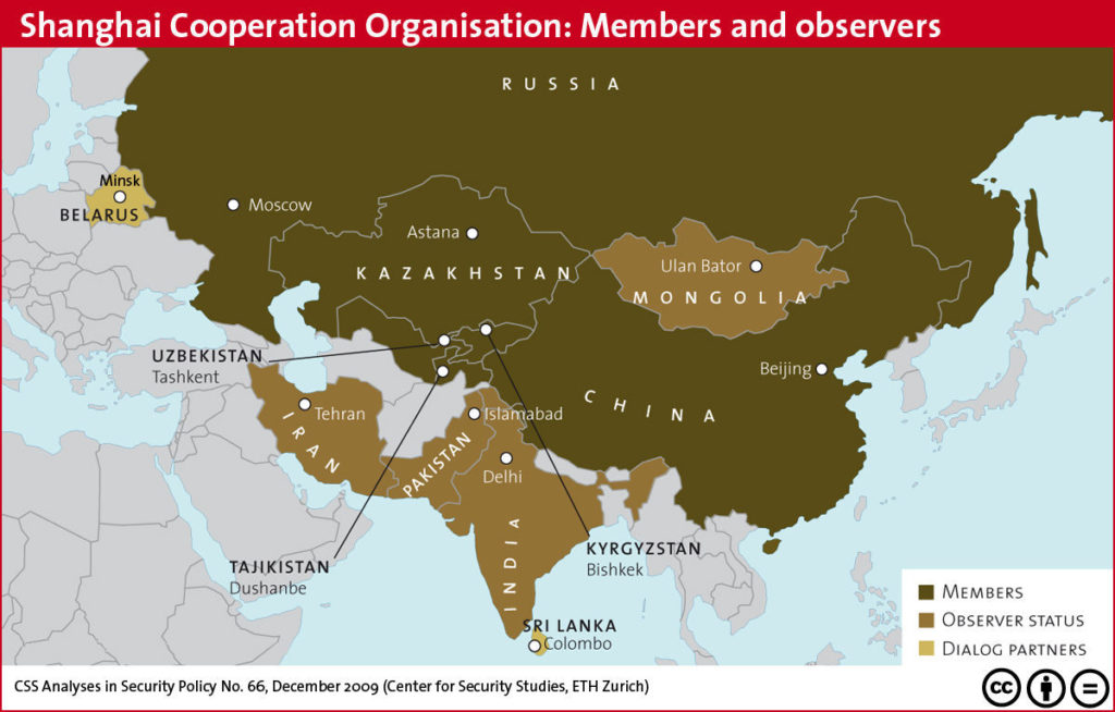 Shangai Cooperation Organisation: members and observers