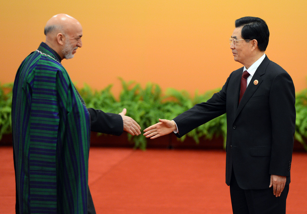 Chinese President Hu Jintao (R) greets Afghanistan President Hamid Karza