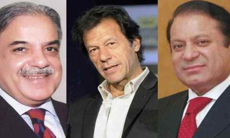 left to right: Punjab Chief Minister Shahbaz Sharif, Pakistan Tehreek-e-Insaf (PTI) chairman Imran Khan and Prime Minister Nawaz Sharif