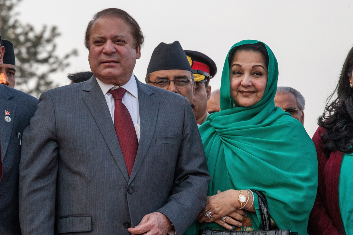 Former Prime Minister Nawaz Sharif and his wife Kulsoom Nawaz