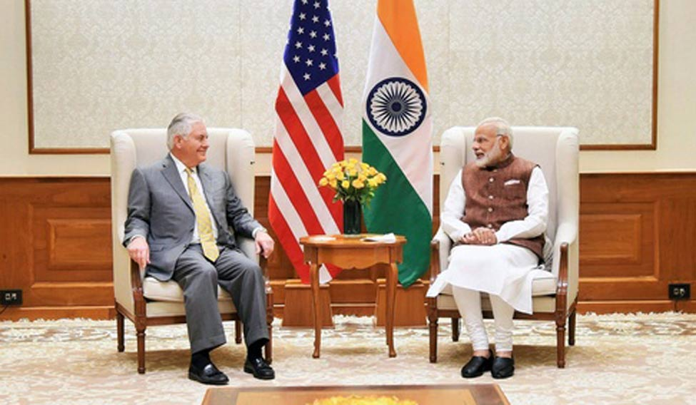 Prime Minister Narendra Modi with US Secretary of State Rex Tillerson