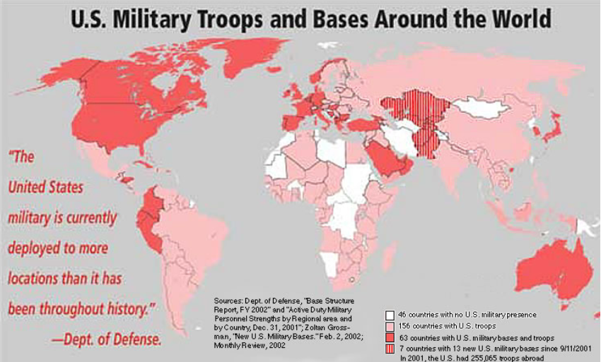 US military troops and bases around the World