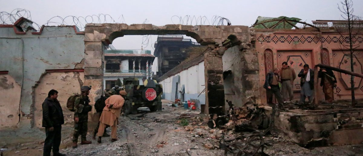 The entrance gate of Save the Children Aid group in Afghanistan, after a blast and gun fire in Jalalabad