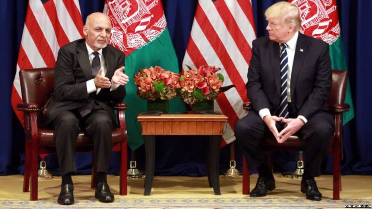 Afghan President Ashraf Ghani with U.S. President Donald Trump
