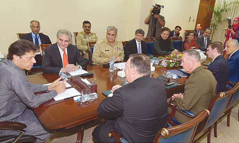 Prime Minister Imran Khan, US Secretary of State Mike Pompeo, Chairman of the Joint Chiefs of Staff Gen Joseph Dunford, Foreign Minister Shah Mehmood Qureshi and Chief of the Army Staff Gen Qamar Jave