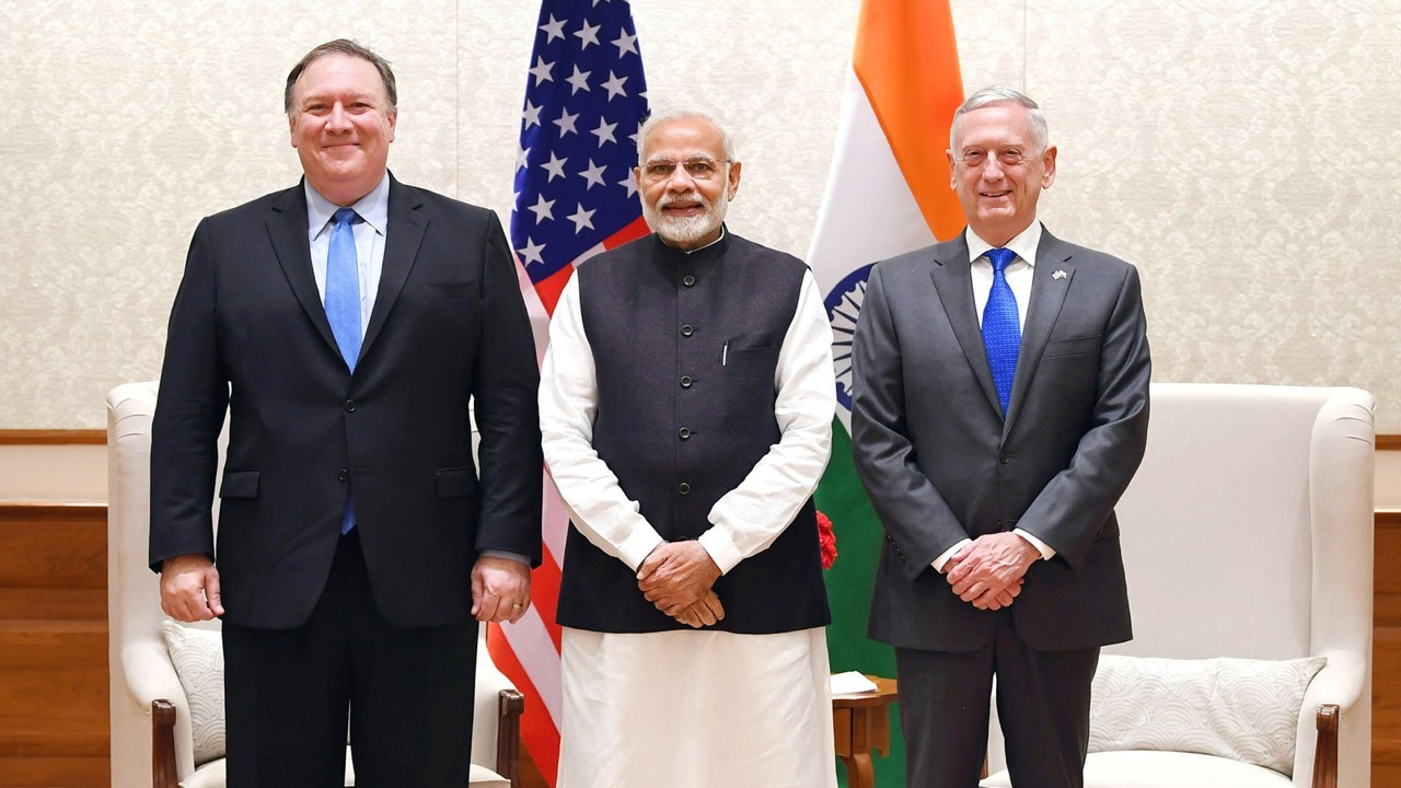 US Secretary of State Michael R Pompeo, Indian Prime Minister Narendra Modi and Secretary of Defence James Mattis